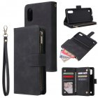 For Samsung A01 Case Smartphone Shell Wallet Design Zipper Closure Overall Protection Cellphone Cover  1 black