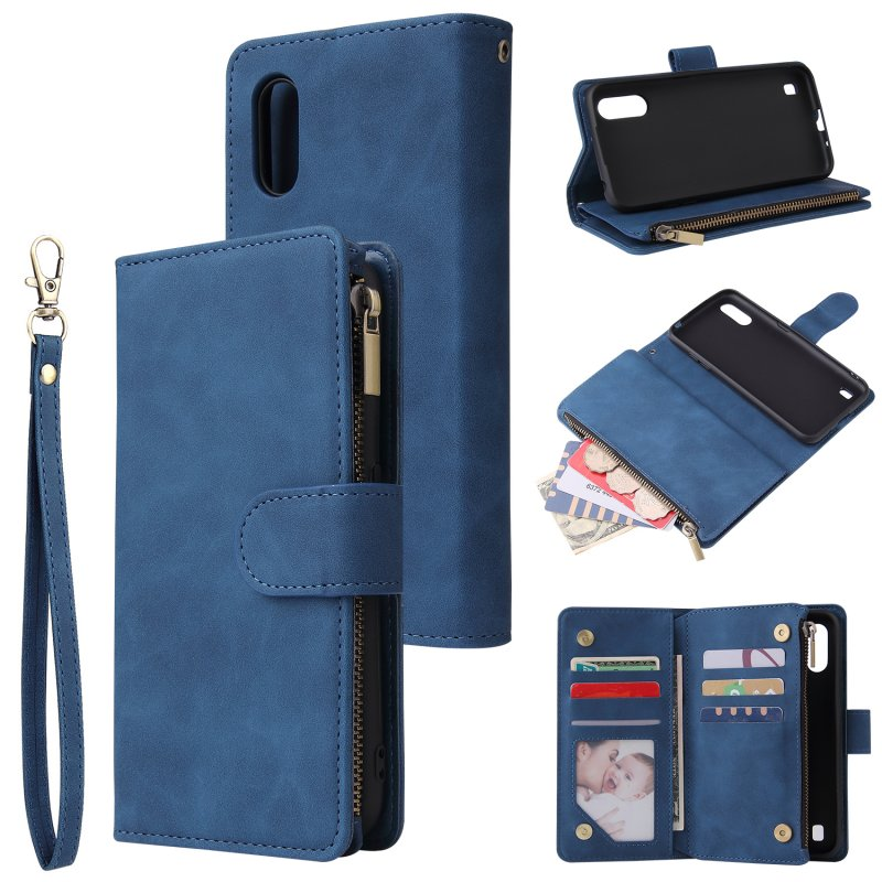 For Samsung A01 Case Smartphone Shell Wallet Design Zipper Closure Overall Protection Cellphone Cover  2 blue