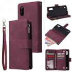 For Samsung A01 Case Smartphone Shell Wallet Design Zipper Closure Overall Protection Cellphone Cover  5 wine red