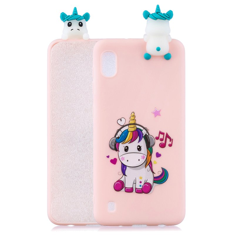 For Samsung A01 Soft TPU Case Back Cover 3D Cartoon Painting Mobile Phone Shell Music unicorn