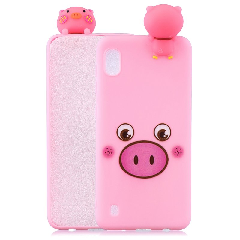 For Samsung A01 Soft TPU Case Back Cover 3D Cartoon Painting Mobile Phone Shell Little pink pig