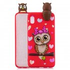 For Samsung A10 3D Cute Coloured Painted Animal TPU Anti-scratch Non-slip Protective Cover Back Case Red owl