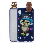 For Samsung A10 3D Cute Coloured Painted Animal TPU Anti-scratch Non-slip Protective Cover Back Case Navy blue owl
