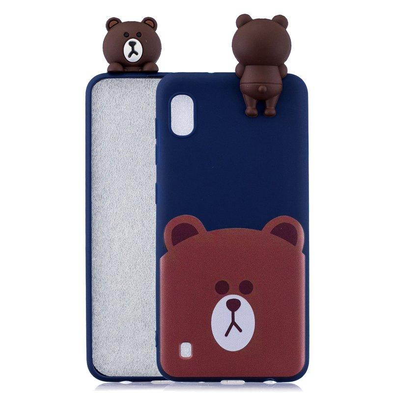 For Samsung A10 3D Cute Coloured Painted Animal TPU Anti-scratch Non-slip Protective Cover Back Case Bear