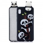 For Samsung A10 3D Cute Coloured Painted Animal TPU Anti-scratch Non-slip Protective Cover Back Case Three pandas