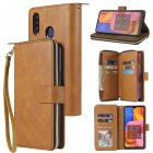 For Samsung A10/A20/A30/A50/A30S/A50S Pu Leather  Mobile Phone Cover Zipper Card Bag + Wrist Strap brown