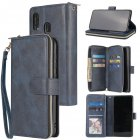 For Samsung A10/A20/A30/A50/A30S/A50S Pu Leather  Mobile Phone Cover Zipper Card Bag + Wrist Strap blue