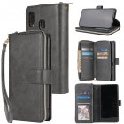 For Samsung A10/A20/A30/A50/A30S/A50S Pu Leather  Mobile Phone Cover Zipper Card Bag + Wrist Strap black