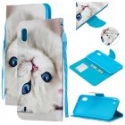 For Samsung A10 A20 A30 Smartphone Case PU Leather Wallet Design Cellphone Cover with Card Holder Stand Available Blue eyes cat