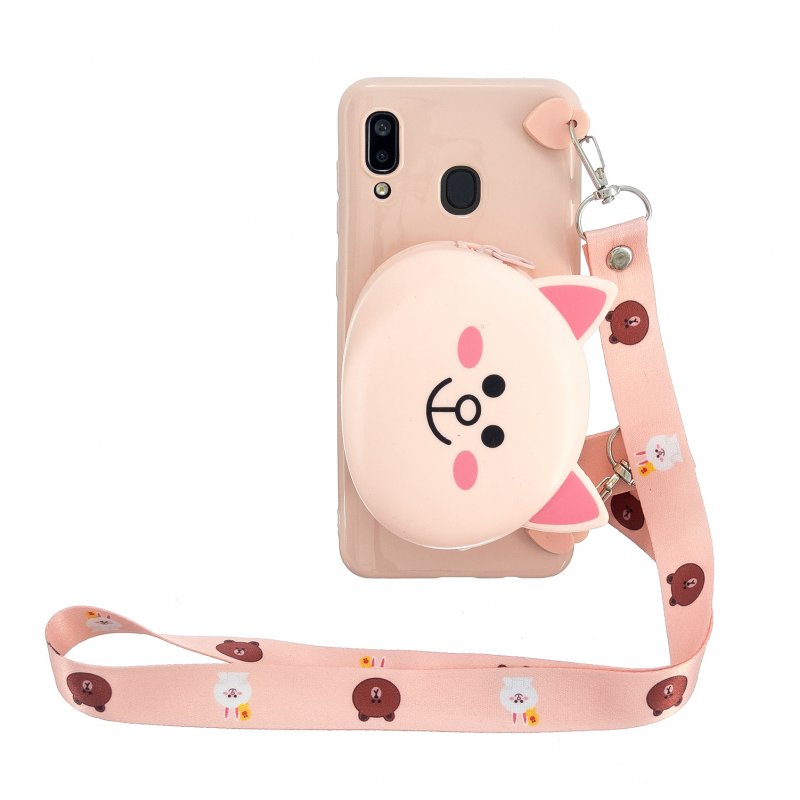 For Samsung A10/A20/A30 Case Mobile Phone Shell Shockproof TPU Cellphone Cover with Cartoon Cat Pig Panda Coin Purse Lovely Shoulder Starp  Pink