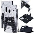 For Samsung A10 A20 A30 Smartphone Case PU Leather Wallet Design Cellphone Cover with Card Holder Stand Available Black white cat