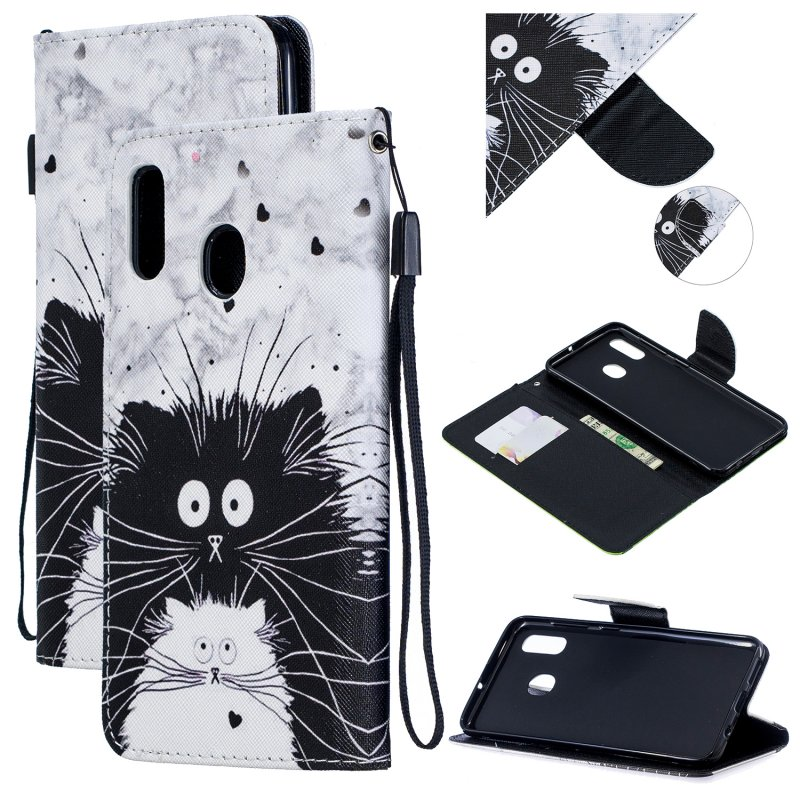 For Samsung A10/A20/A30 Smartphone Case PU Leather Wallet Design Cellphone Cover with Card Holder Stand Available Black white cat