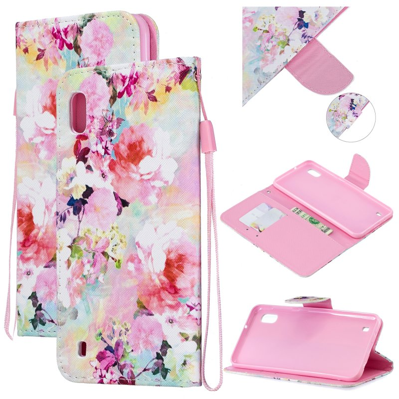 For Samsung A10/A20/A30 Smartphone Case PU Leather Wallet Design Cellphone Cover with Card Holder Stand Available Watercolor flower