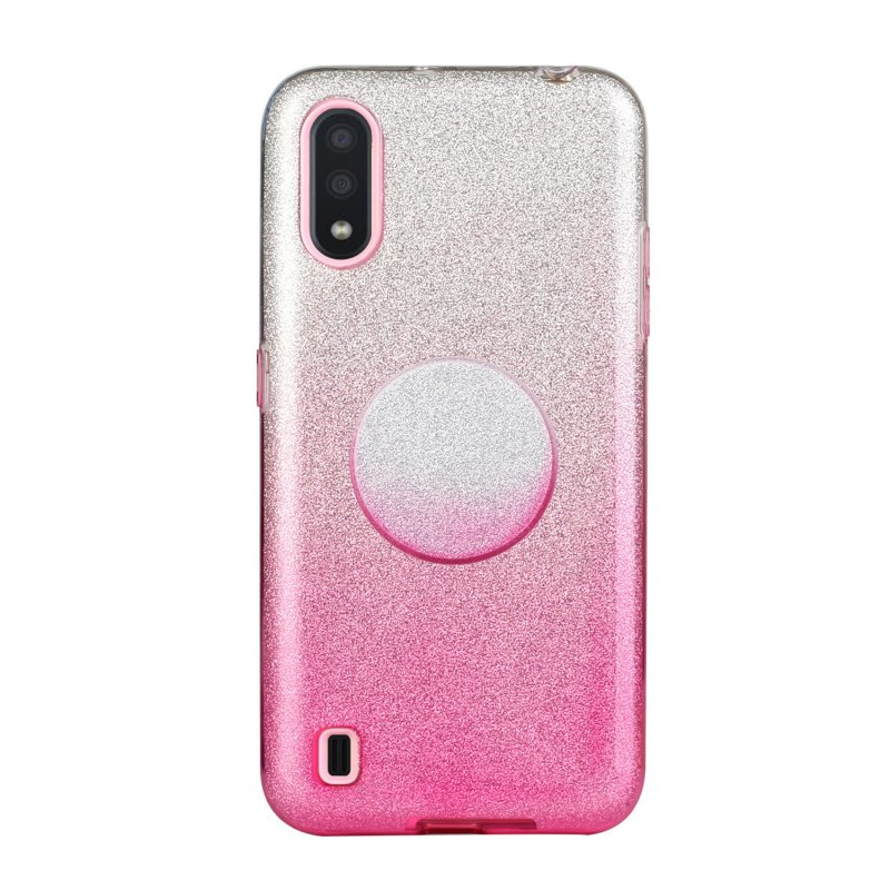 For Samsung A10/A50/A30S/A70/A20S Phone Case Gradient Color Glitter Powder Phone Cover with Airbag Bracket Pink