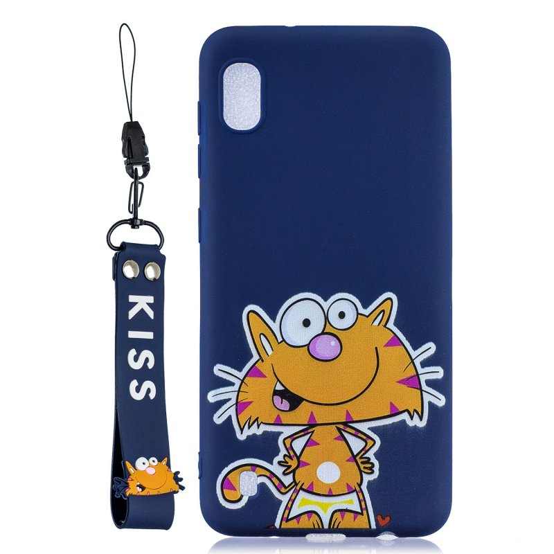 For Samsung A10 Cartoon Lovely Coloured Painted Soft TPU Back Cover Non-slip Shockproof Full Protective Case with Lanyard sapphire