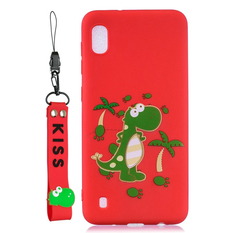 For Samsung A10 Cartoon Lovely Coloured Painted Soft TPU Back Cover Non-slip Shockproof Full Protective Case with Lanyard red