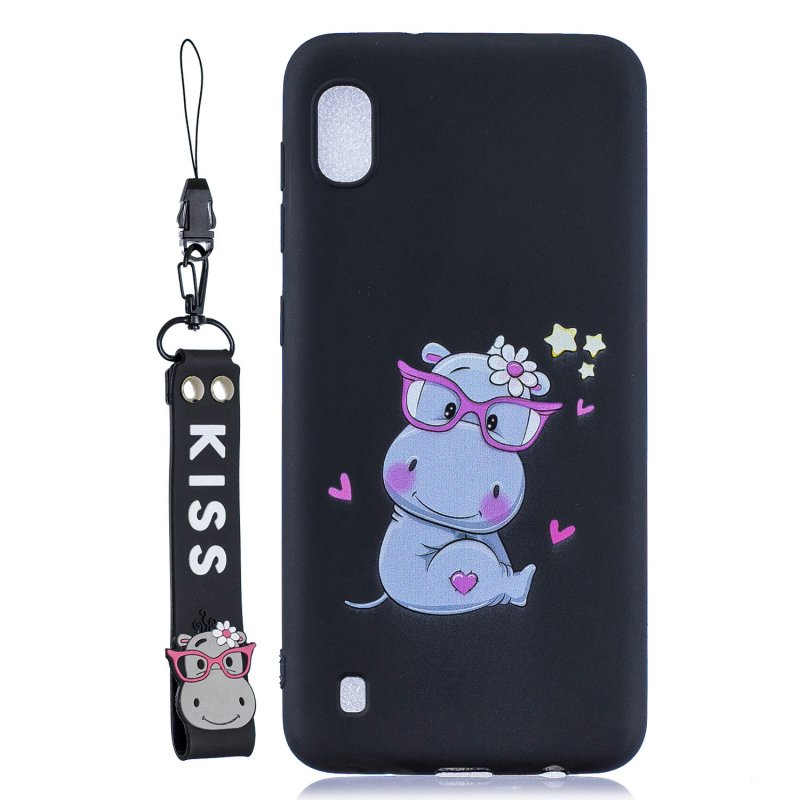 For Samsung A10 Cartoon Lovely Coloured Painted Soft TPU Back Cover Non-slip Shockproof Full Protective Case with Lanyard black