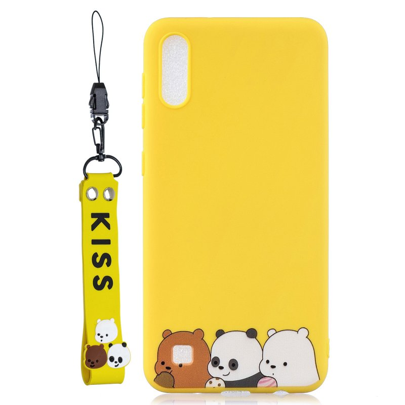 For Samsung A10 Cartoon Lovely Coloured Painted Soft TPU Back Cover Non-slip Shockproof Full Protective Case with Lanyard yellow