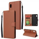 For Samsung A10 Flip-type Leather Protective Phone Case with 3 Card Position Buckle Design Phone Cover  brown