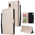 For Samsung A10 Flip-type Leather Protective Phone Case with 3 Card Position Buckle Design Phone Cover  Gold