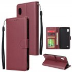 For Samsung A10 Flip-type Leather Protective Phone Case with 3 Card Position Buckle Design Phone Cover  Red wine