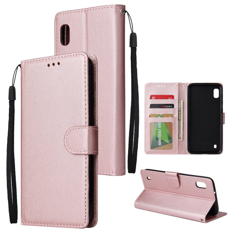 For Samsung A10 Flip-type Leather Protective Phone Case with 3 Card Position Buckle Design Phone Cover  Rose gold