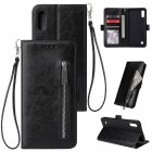 For Samsung A10 Solid Color PU Leather Zipper Wallet Double Buckle Protective Case with Stand & Lanyard black