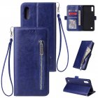 For Samsung A10 Solid Color PU Leather Zipper Wallet Double Buckle Protective Case with Stand & Lanyard blue
