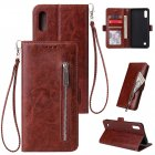 For Samsung A10 Solid Color PU Leather Zipper Wallet Double Buckle Protective Case with Stand & Lanyard brown