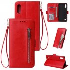 For Samsung A10 Solid Color PU Leather Zipper Wallet Double Buckle Protective Case with Stand & Lanyard red