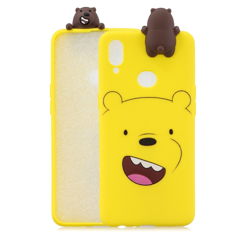 For Samsung A10S A20S Color Painting 3D Cartoon Animal Full Protective Soft TPU Mobile Phone Case yellow
