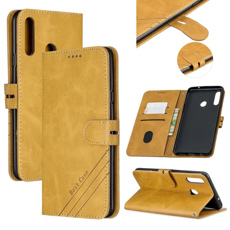 For Samsung A10S A20S Solid Color Denim Texture Front Clasp Bracket Leather Mobile Phone Cover yellow