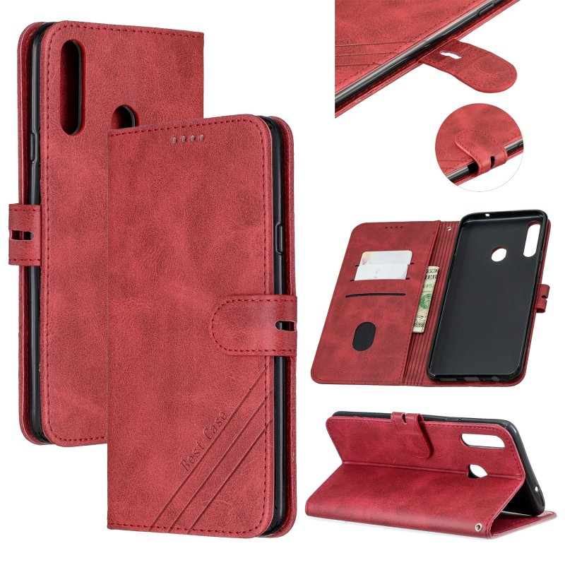 For Samsung A10S A20S Solid Color Denim Texture Front Clasp Bracket Leather Mobile Phone Cover red