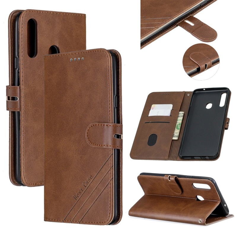 For Samsung A10S A20S Solid Color Denim Texture Front Clasp Bracket Leather Mobile Phone Cover brown