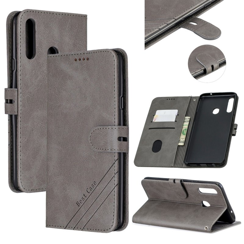 For Samsung A10S A20S Solid Color Denim Texture Front Clasp Bracket Leather Mobile Phone Cover gray