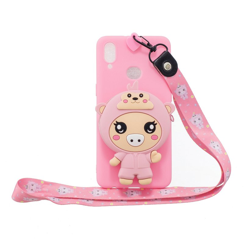 For Samsung A10S A20S TPU Full Protective Cartoon Mobile Phone Cover with Coin Purse+Hanging Lanyard 3 deep pink piglets