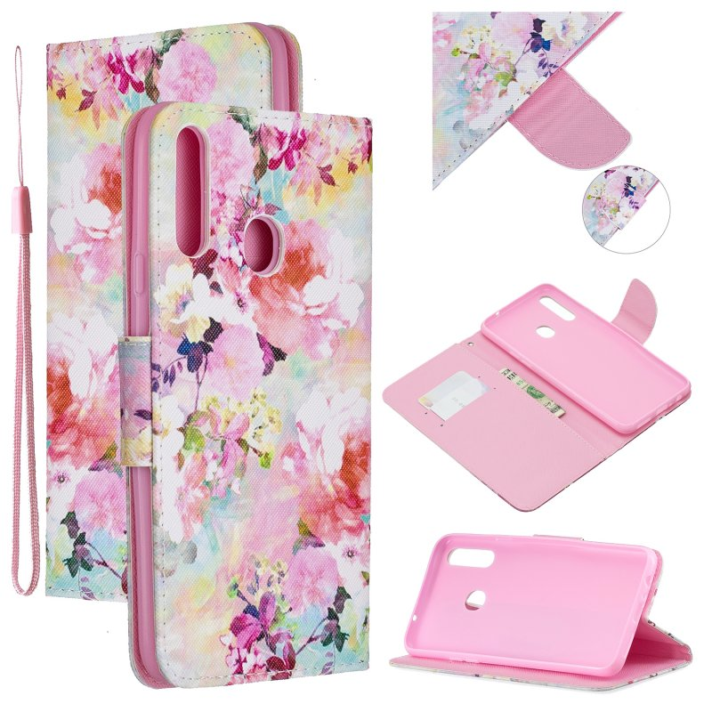 For Samsung A10S/A20S Smartphone Case PU Leather Phone Shell Lovely Cartoon Pattern Card Slots Overall Protection Watercolor flower