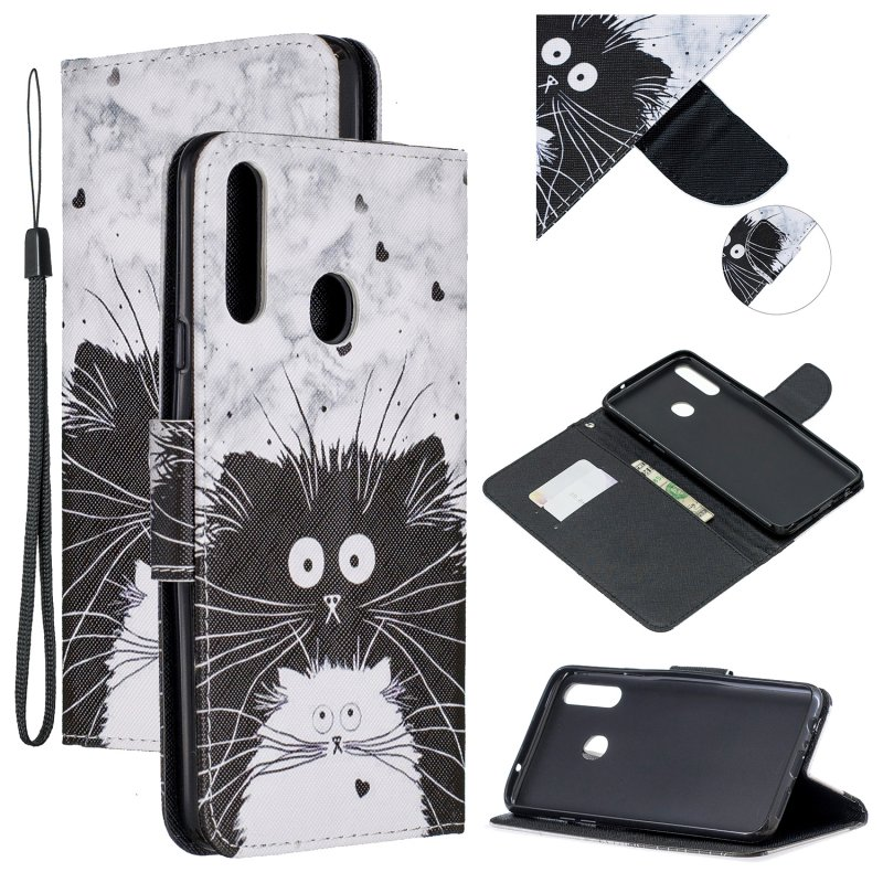 For Samsung A10S/A20S Smartphone Case PU Leather Phone Shell Lovely Cartoon Pattern Card Slots Overall Protection Black white cat