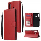 For Samsung A10S A20S Cellphone Cover Mobile Phone Shell Buckle Closure Cards Slots PU Leather Smart Shell with Wallet Overall Protection red