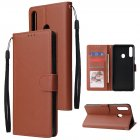 For Samsung A10S A20S Cellphone Cover Mobile Phone Shell Buckle Closure Cards Slots PU Leather Smart Shell with Wallet Overall Protection brown