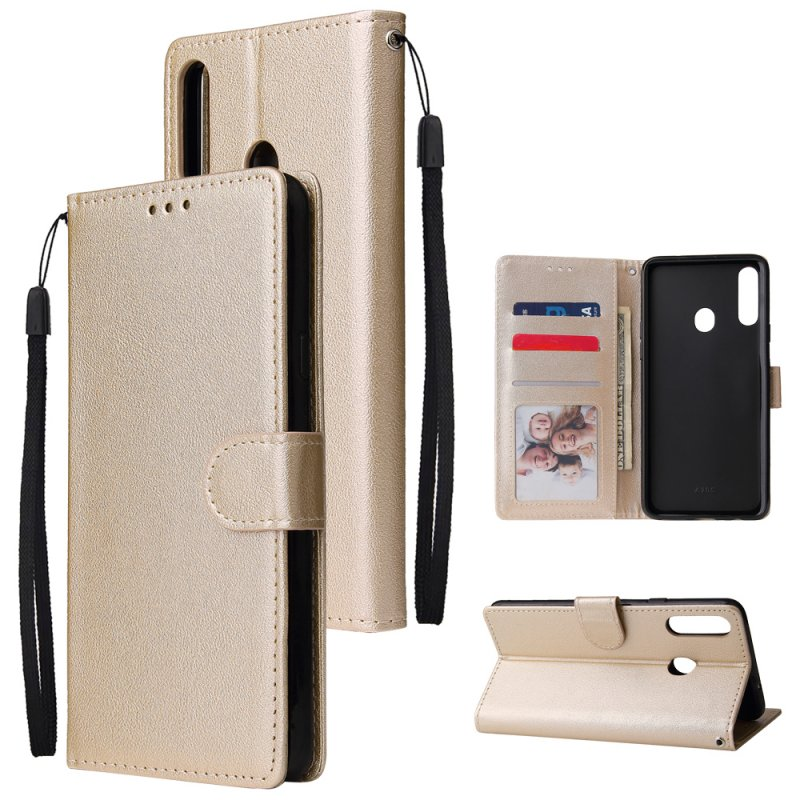 For Samsung A10S A20S Cellphone Cover Mobile Phone Shell Buckle Closure Cards Slots PU Leather Smart Shell with Wallet Overall Protection gold