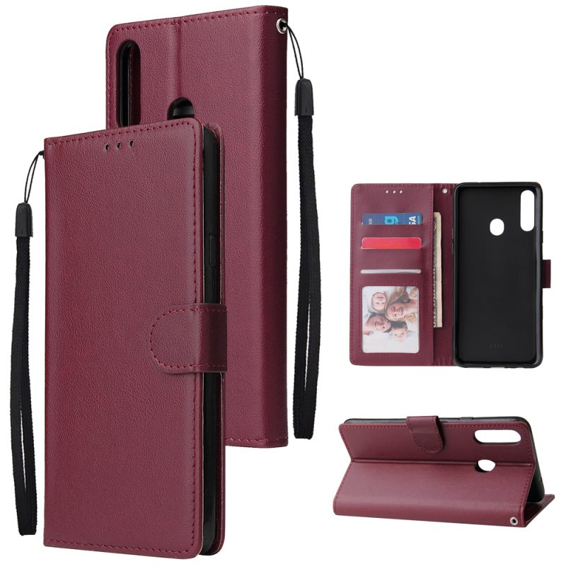 For Samsung A10S A20S Cellphone Cover Mobile Phone Shell Buckle Closure Cards Slots PU Leather Smart Shell with Wallet Overall Protection wine red