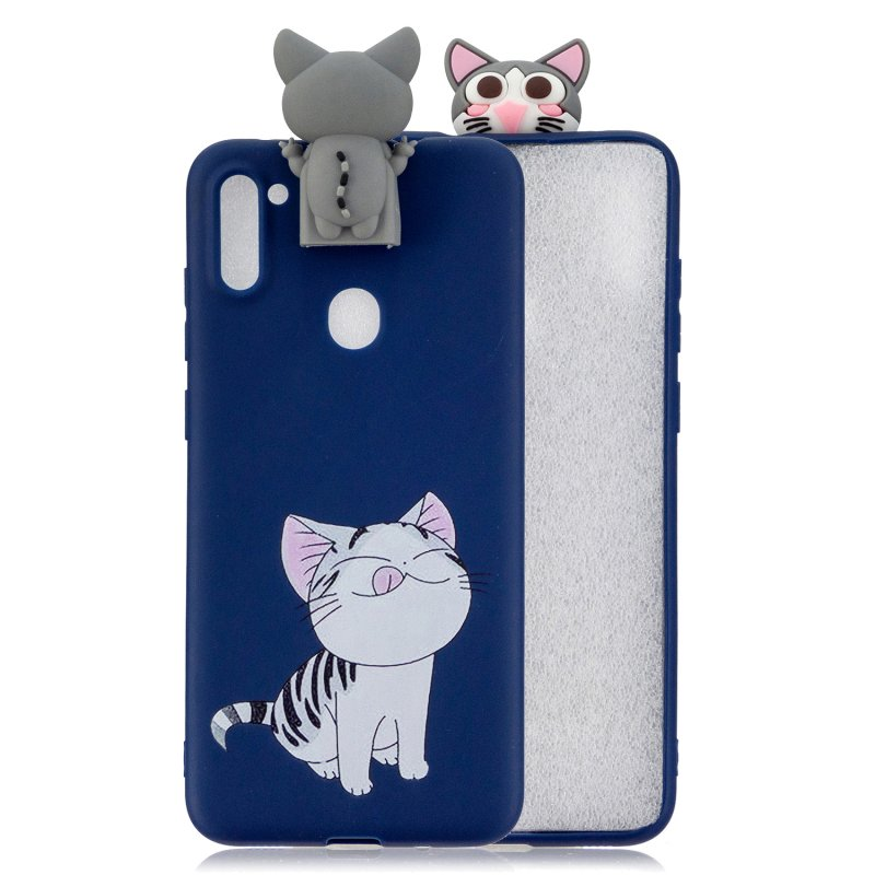 For Samsung A11 Soft TPU Back Cover Cartoon Painting Mobile Phone Case Shell with Bracket Licking pussy