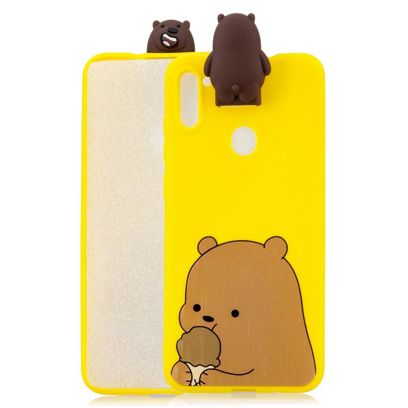For Samsung A11 Soft TPU Back Cover Cartoon Painting Mobile Phone Case Shell with Bracket Brown Bear
