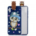 For Samsung A11 Soft TPU Back Cover 3D Cartoon Painting Mobile Phone Case Shell Royal Blue Owl
