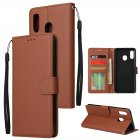 For Samsung A30/A20 Flip-type Leather Protective Phone Case with 3 Card Position Buckle Design Phone Cover  brown