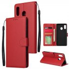 For Samsung A30/A20 Flip-type Leather Protective Phone Case with 3 Card Position Buckle Design Phone Cover  red