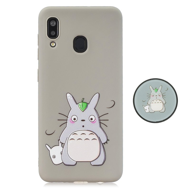 For Samsung A30 A20 TPU Full Cover Cartoon Pattern Solid Color Protective Phone Case with Adjustable Bracket 4