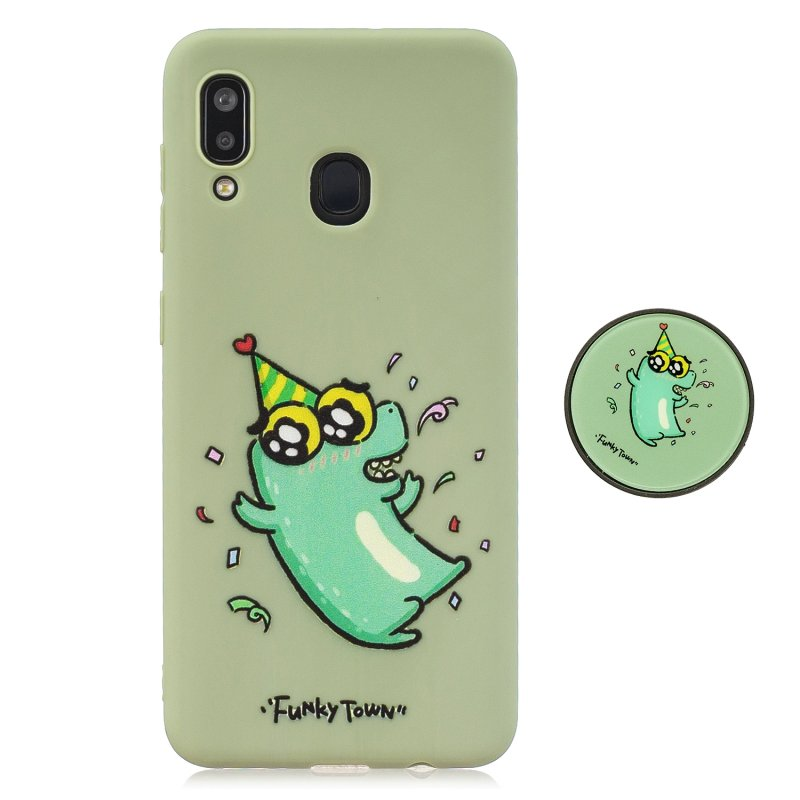 For Samsung A30 A20 TPU Full Cover Cartoon Pattern Solid Color Protective Phone Case with Adjustable Bracket 2