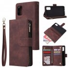 For Samsung A41 Mobile Phone Case Wallet Design Zipper Closure Overall Protection Cellphone Cover  3 brown
